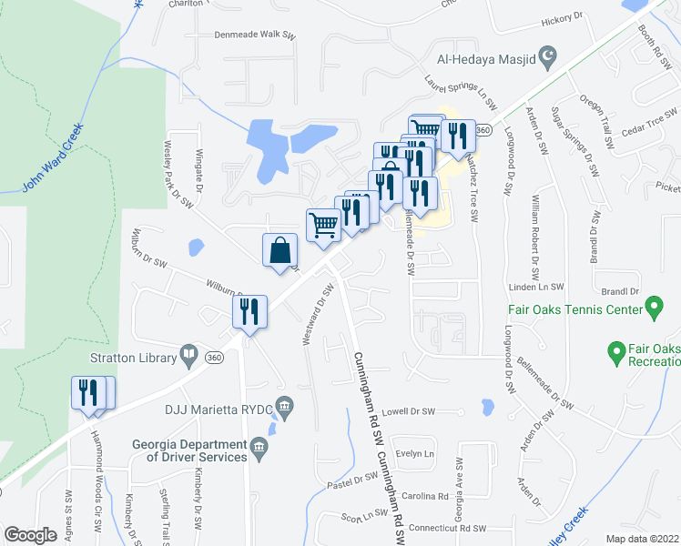 map of restaurants, bars, coffee shops, grocery stores, and more near 1408-1526 Maple Springs Court Southwest in Marietta