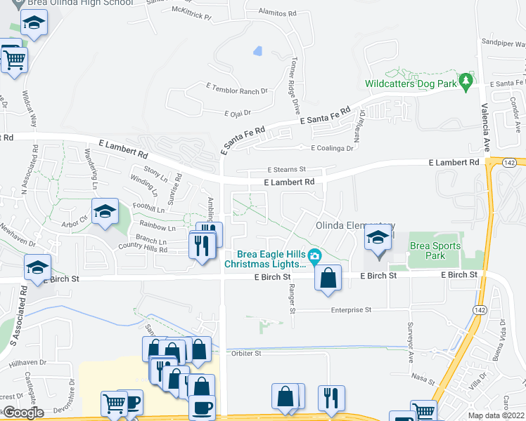 map of restaurants, bars, coffee shops, grocery stores, and more near 2774 Covey Court in Brea