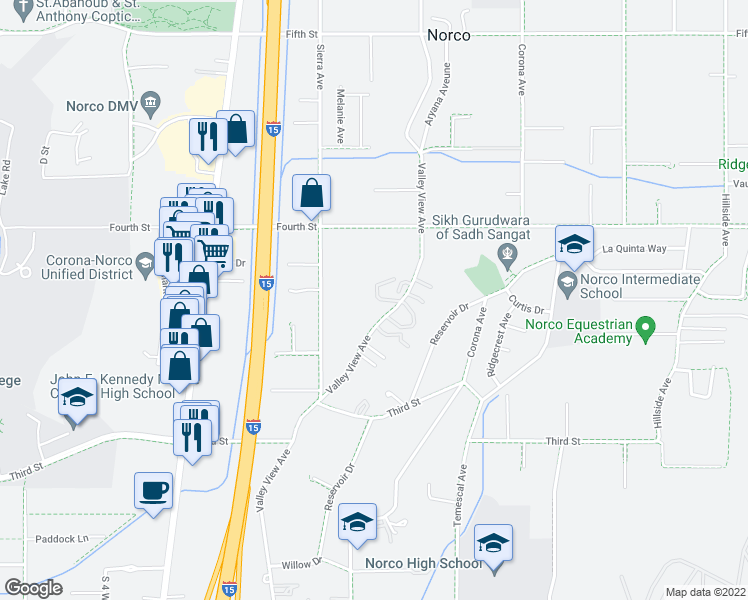 map of restaurants, bars, coffee shops, grocery stores, and more near 2700 Valley View Avenue in Norco