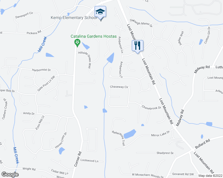 map of restaurants, bars, coffee shops, grocery stores, and more near 1477 Chaseway Circle in Powder Springs