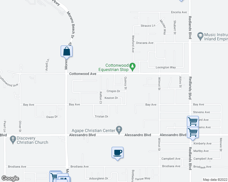 map of restaurants, bars, coffee shops, grocery stores, and more near Crispin Drive in Moreno Valley