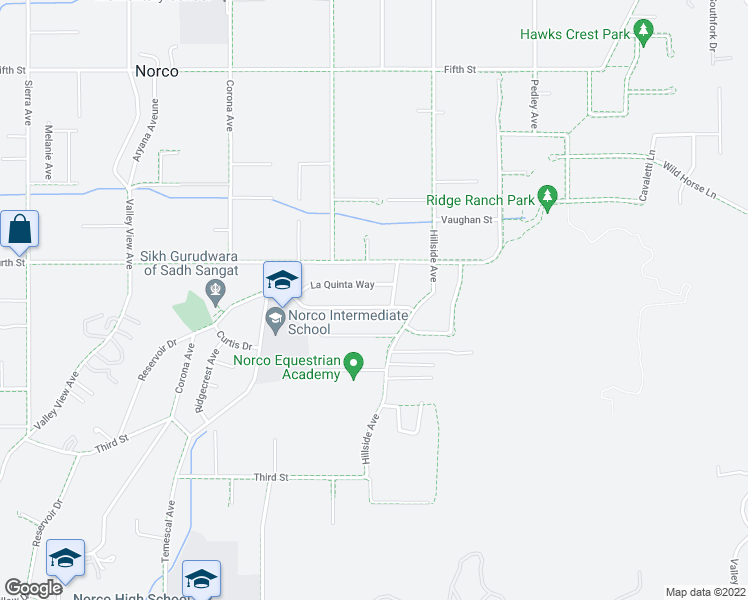 map of restaurants, bars, coffee shops, grocery stores, and more near 811 Garden Grove Avenue in Norco