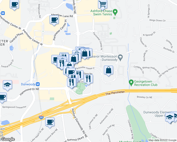 map of restaurants, bars, coffee shops, grocery stores, and more near 70 Perimeter Center East in Atlanta