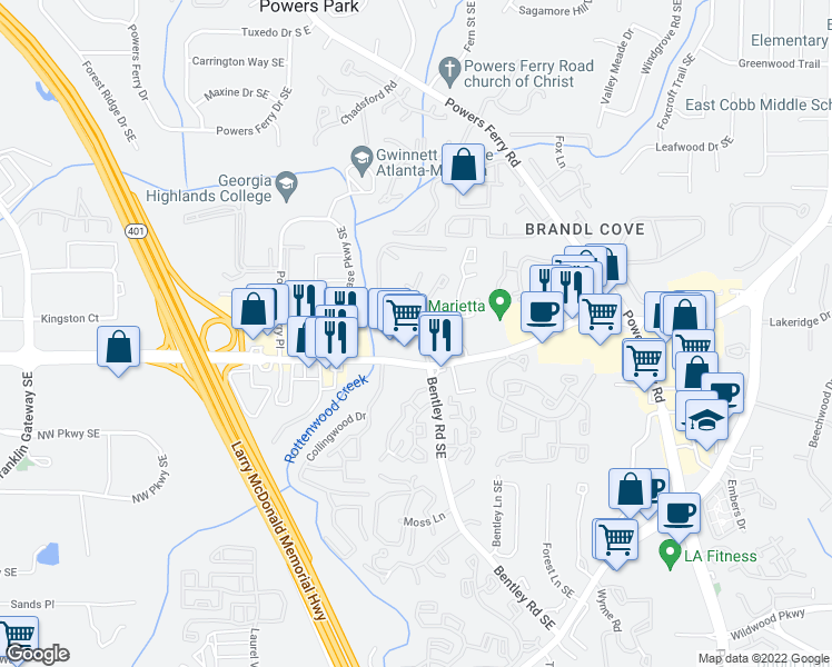 map of restaurants, bars, coffee shops, grocery stores, and more near 2575 Delk Road in Marietta
