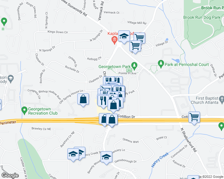 map of restaurants, bars, coffee shops, grocery stores, and more near Chamblee Dunwoody Rd & Dunwoody Park in Dunwoody