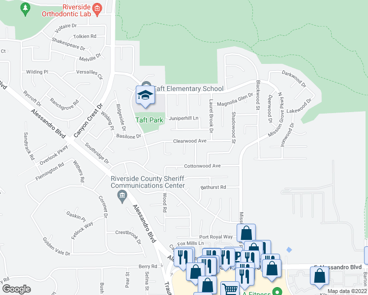 map of restaurants, bars, coffee shops, grocery stores, and more near 121 Clearwood Avenue in Riverside