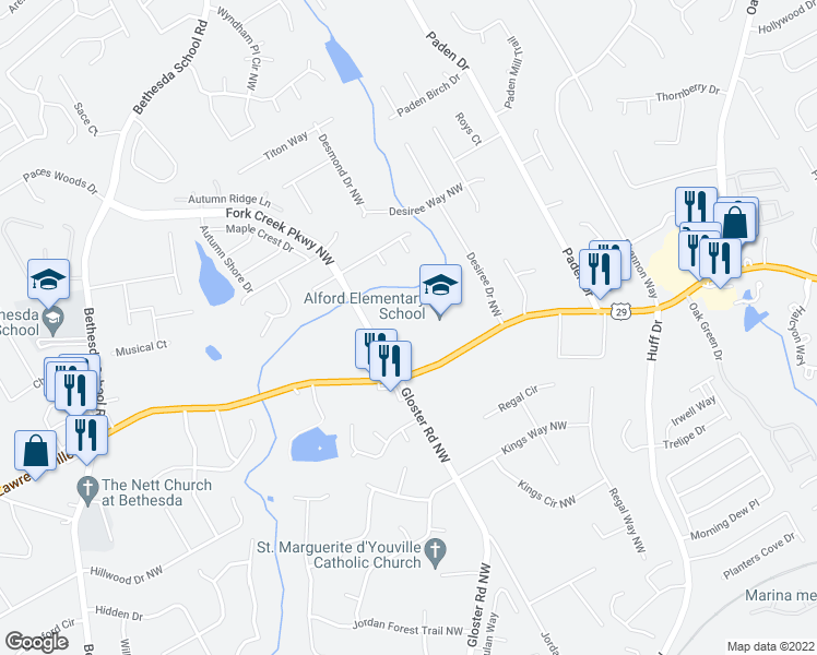 map of restaurants, bars, coffee shops, grocery stores, and more near 400 Windstone Court Northwest in Lawrenceville