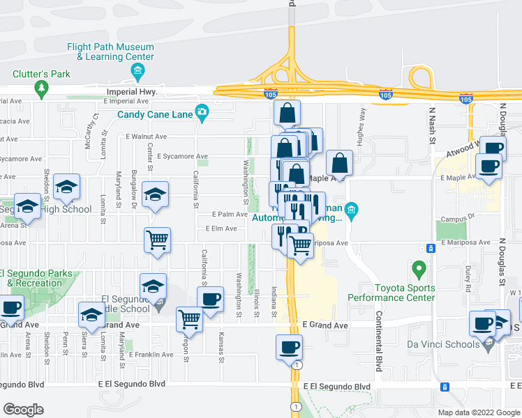 map of restaurants, bars, coffee shops, grocery stores, and more near 1625 East Palm Avenue in El Segundo