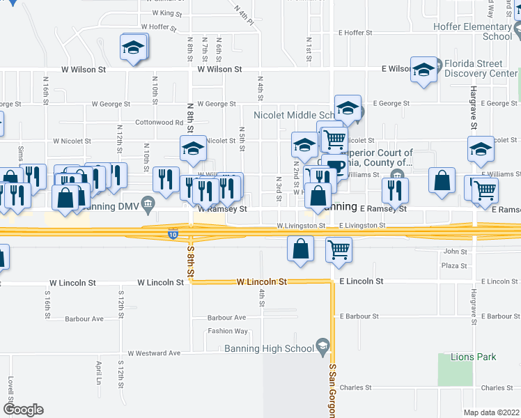 map of restaurants, bars, coffee shops, grocery stores, and more near West Ramsey Street & North 4th Street in Banning