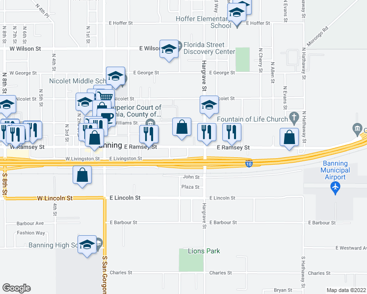 map of restaurants, bars, coffee shops, grocery stores, and more near 647 East Ramsey Street in Banning