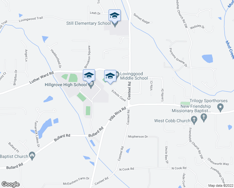 map of restaurants, bars, coffee shops, grocery stores, and more near 3775 Echols Cove in Powder Springs