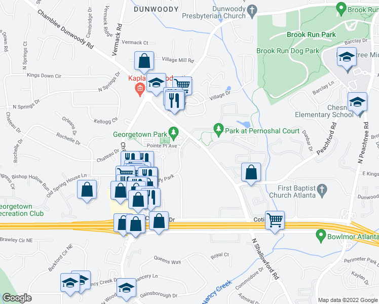 map of restaurants, bars, coffee shops, grocery stores, and more near 100 Azalea Garden Drive in Dunwoody