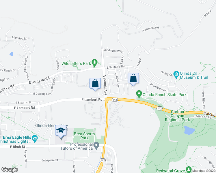 map of restaurants, bars, coffee shops, grocery stores, and more near 447 Hummingbird Drive in Brea