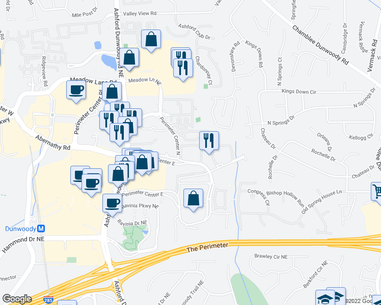 map of restaurants, bars, coffee shops, grocery stores, and more near Perimeter Trace East in Atlanta