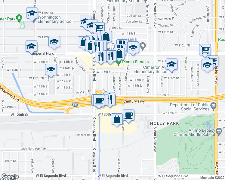 map of restaurants, bars, coffee shops, grocery stores, and more near 11817 Ardath Avenue in Hawthorne