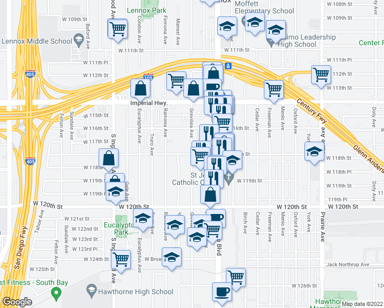 map of restaurants, bars, coffee shops, grocery stores, and more near 11944 South Grevillea Avenue in Hawthorne