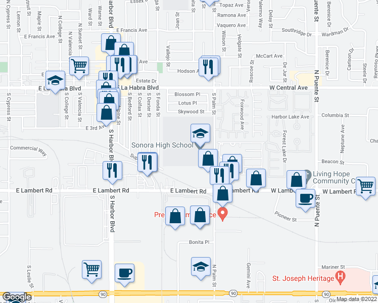 map of restaurants, bars, coffee shops, grocery stores, and more near 615 South Palm Street in La Habra