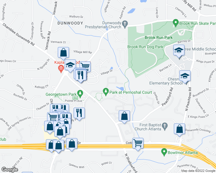 map of restaurants, bars, coffee shops, grocery stores, and more near 3900 Lake Ridge Lane in Dunwoody