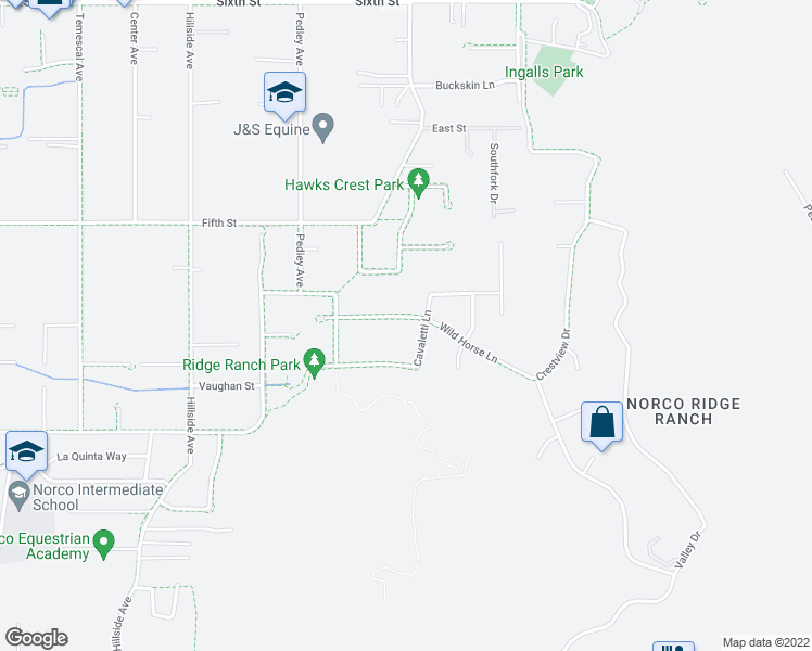 map of restaurants, bars, coffee shops, grocery stores, and more near 280 Wild Horse Lane in Norco