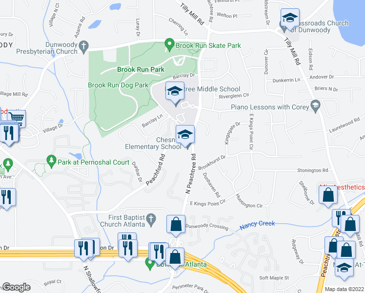 map of restaurants, bars, coffee shops, grocery stores, and more near 2314-2322 Peachford Road in Dunwoody