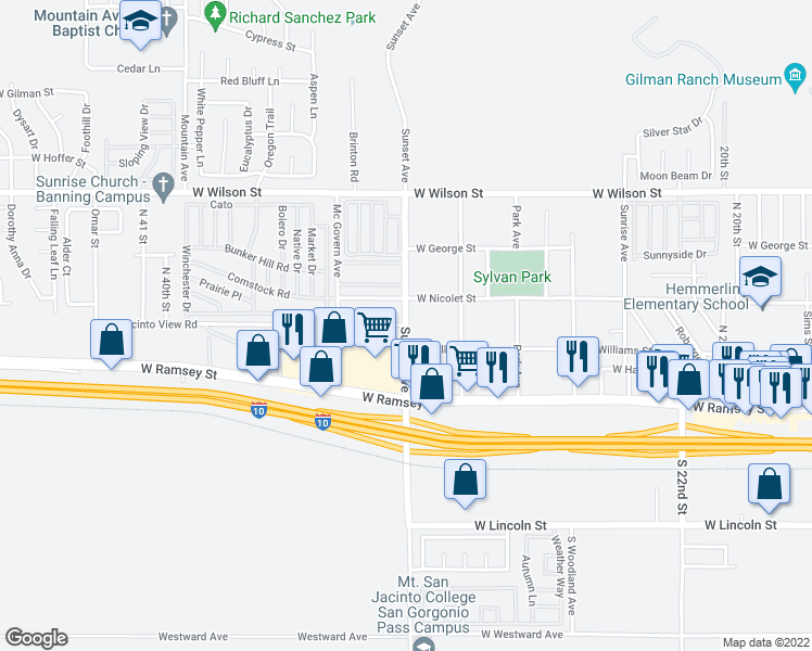 map of restaurants, bars, coffee shops, grocery stores, and more near Sunset Ave & W Jacinto View Rd in Banning