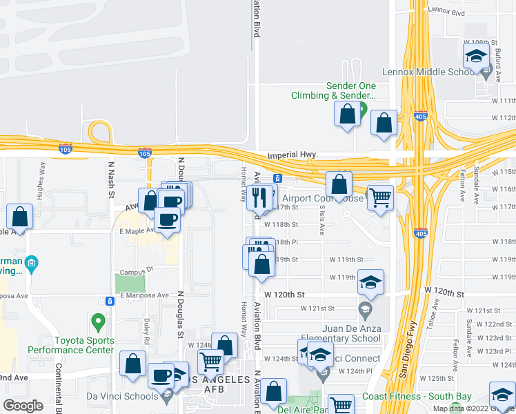 map of restaurants, bars, coffee shops, grocery stores, and more near 5598 West 117th Street in Inglewood