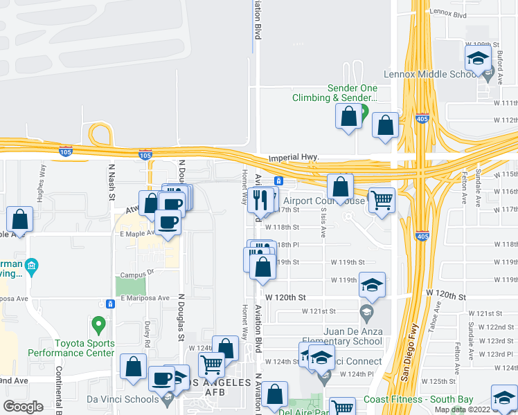 map of restaurants, bars, coffee shops, grocery stores, and more near 11622 Aviation Boulevard in Inglewood