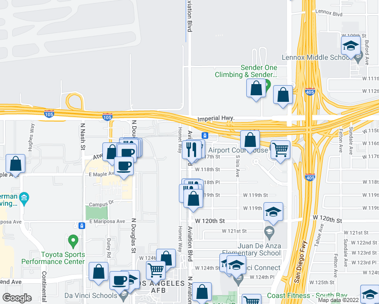 map of restaurants, bars, coffee shops, grocery stores, and more near 11698 Aviation Boulevard in Inglewood