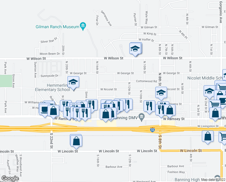 map of restaurants, bars, coffee shops, grocery stores, and more near 1416 West Nicolet Street in Banning
