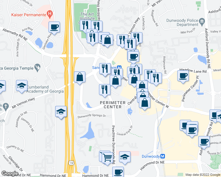 map of restaurants, bars, coffee shops, grocery stores, and more near 6433 Peachtree