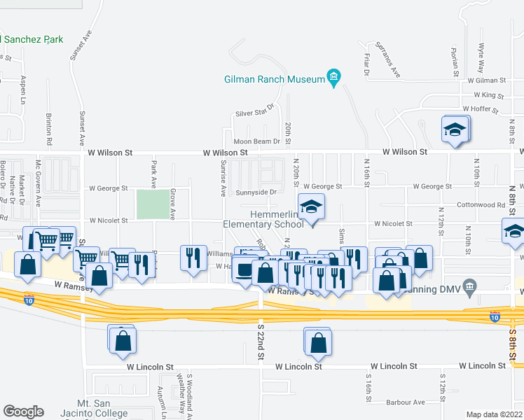 map of restaurants, bars, coffee shops, grocery stores, and more near 2186 Cottonwood Road in Banning