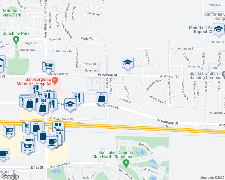 map of restaurants, bars, coffee shops, grocery stores, and more near 304 Marian Way in Banning
