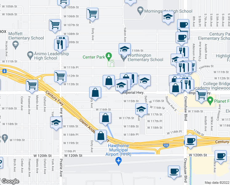 map of restaurants, bars, coffee shops, grocery stores, and more near 3649 West Imperial Highway in Inglewood