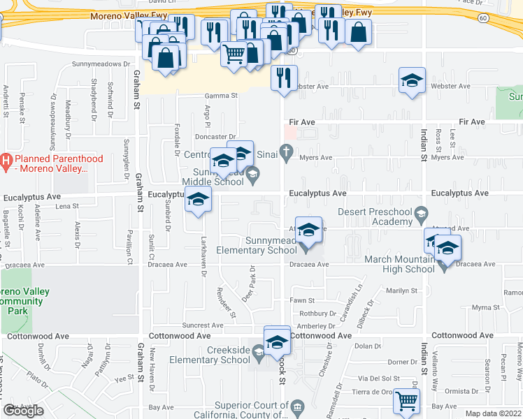 map of restaurants, bars, coffee shops, grocery stores, and more near 23925 Eucalyptus Avenue in Moreno Valley