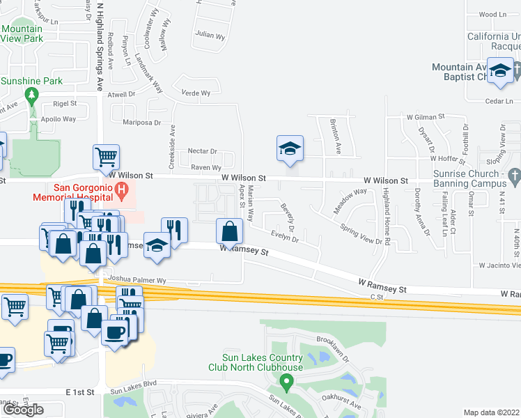 map of restaurants, bars, coffee shops, grocery stores, and more near 5493 Christy Way in Banning