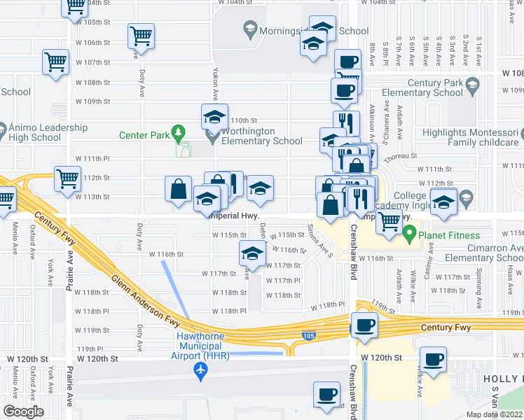 map of restaurants, bars, coffee shops, grocery stores, and more near 3405 Imperial Highway in Inglewood