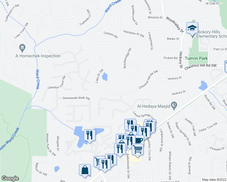 map of restaurants, bars, coffee shops, grocery stores, and more near 846 Chestnut Hill Road Southwest in Marietta
