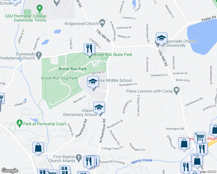 map of restaurants, bars, coffee shops, grocery stores, and more near 4606 Ellisbury Drive in Dunwoody