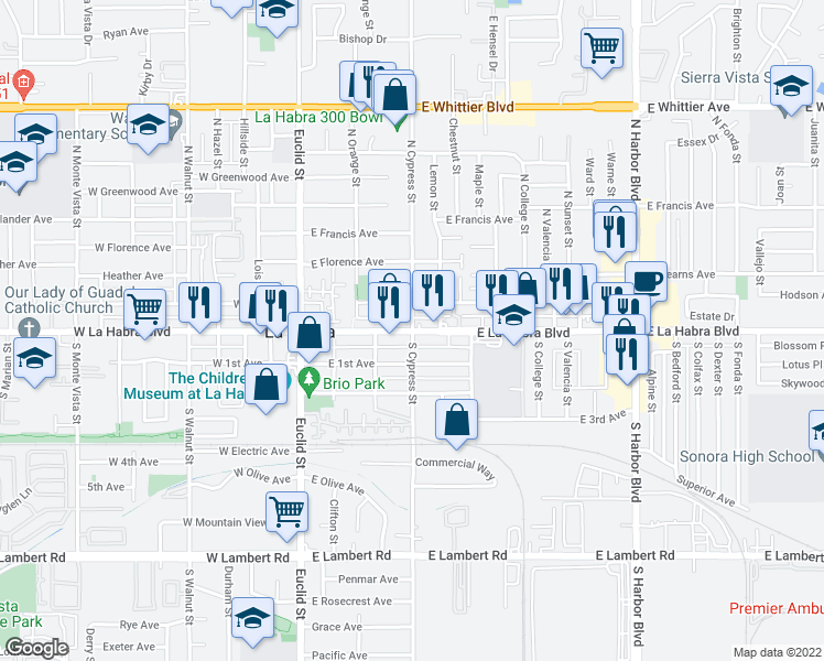 map of restaurants, bars, coffee shops, grocery stores, and more near 370 East La Habra Boulevard in La Habra