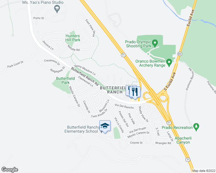 map of restaurants, bars, coffee shops, grocery stores, and more near 6341 Sunny Meadow Lane in Chino Hills