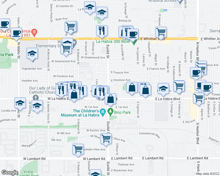 map of restaurants, bars, coffee shops, grocery stores, and more near 205 North Euclid Street in La Habra