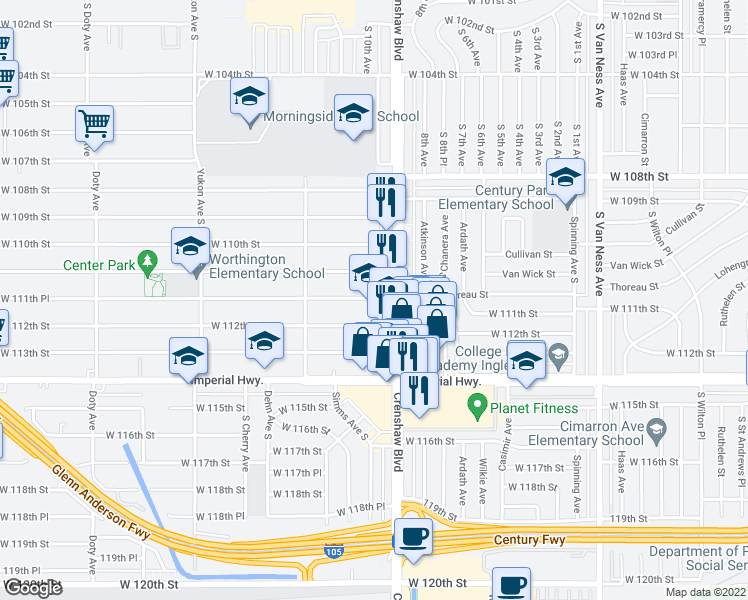 map of restaurants, bars, coffee shops, grocery stores, and more near 3128 West 111th Street in Inglewood