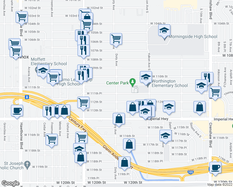 Doty Avenue West Th Place Inglewood CA Walk Score - Inglewood map