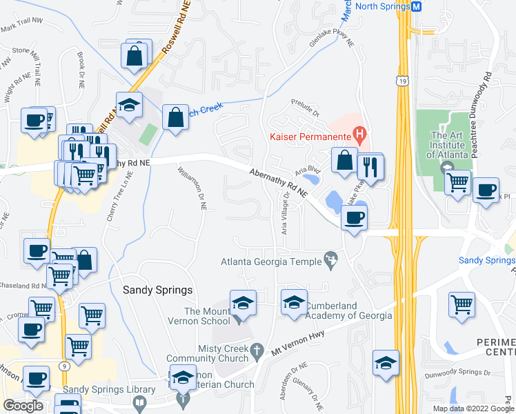 map of restaurants, bars, coffee shops, grocery stores, and more near 795 Glengate Place in Atlanta