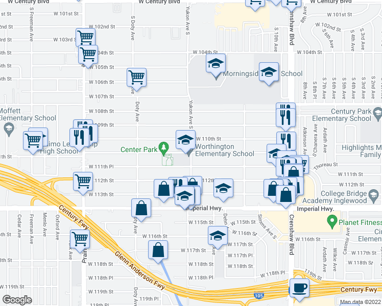 map of restaurants, bars, coffee shops, grocery stores, and more near 11101 South Yukon Avenue in Inglewood