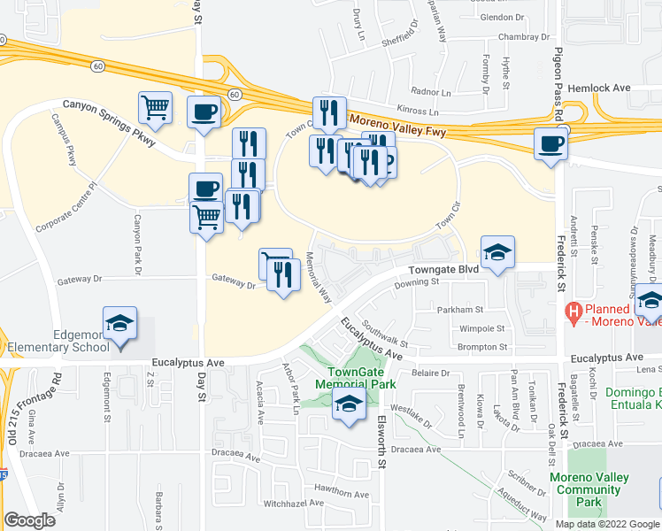 map of restaurants, bars, coffee shops, grocery stores, and more near 12640 Memorial Way in Moreno Valley