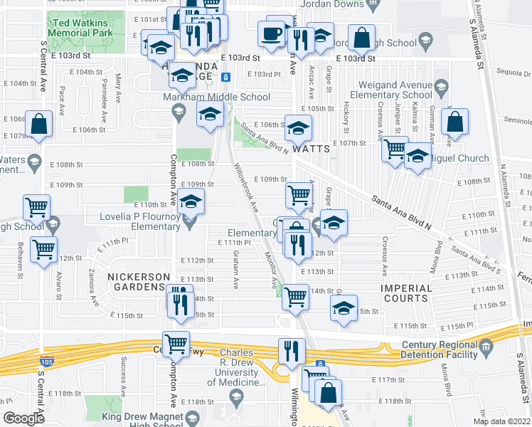 map of restaurants, bars, coffee shops, grocery stores, and more near 1791 East 110th Street in Los Angeles