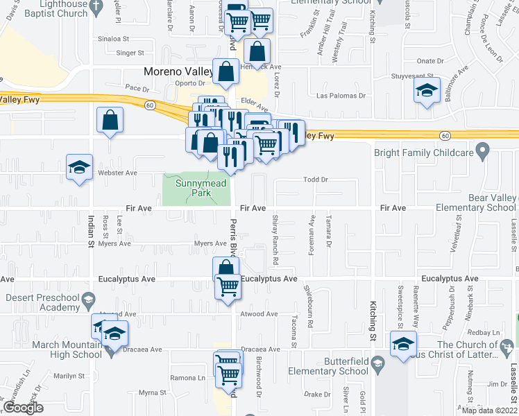 map of restaurants, bars, coffee shops, grocery stores, and more near 25106 Fir Avenue in Moreno Valley