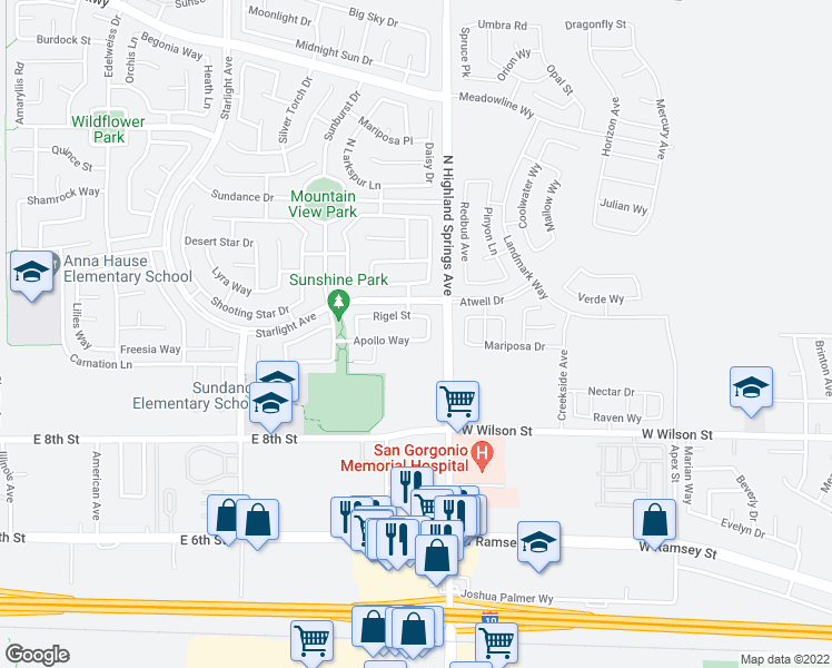 map of restaurants, bars, coffee shops, grocery stores, and more near 1684 Apollo Way in Beaumont