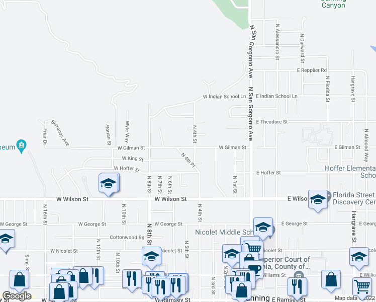 map of restaurants, bars, coffee shops, grocery stores, and more near 500 West Gilman Street in Banning